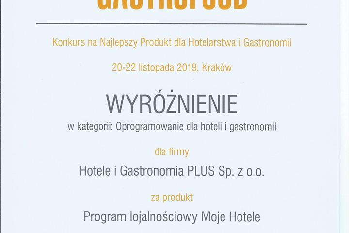 Moje Hotele z wyróżnieniem w konkursie podczas Targów HORECA/GASTROFOOD - dziękujemy!